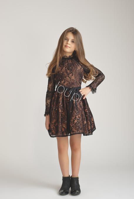 Marielle Kids Black Lace Dress