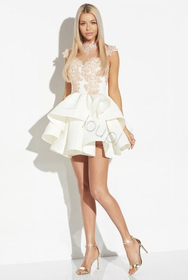 JOELLE - CREAM FABRIC DRESS WITH GOLDEN BEADS