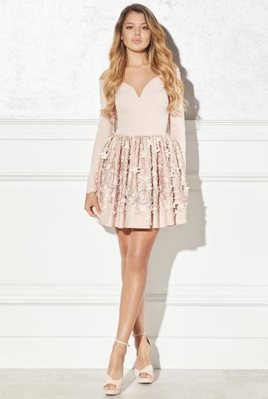 LAURELLE - DIRTY PINK FLARED DRESS