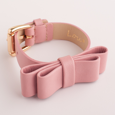 LEATHER PINK BRACELET WITH A RIBBON