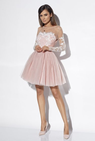 NADINE -  DIRT PINK DRESS WITH EMBROIDERY