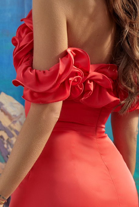 ASTORIA - RED DRESS WITH FRILLS