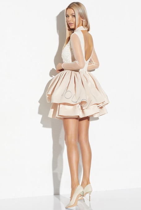 CALOMEA - FERN BEIGE DRESS WITH LACE