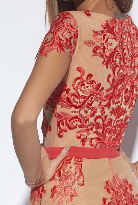 CAMETTE - FITTED DRESS WITH RED LACE