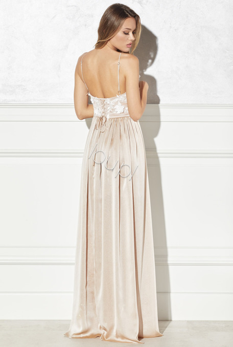 CELINE - BEIGE GOWN WITH EMBROIDERY