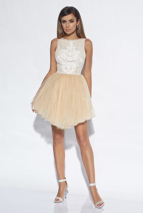 COLETTE - STRAW DRESS WITH EMBROIDERY AND PEARLS