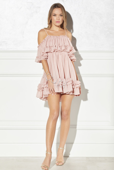 EILEEN - PINK DRESS WITH FRILLS
