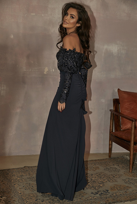 ELIDE - NAVY BLUE DRESS WITH LACE