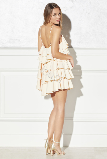 ESCADA - BEIGE DRESS WITH FRILLS