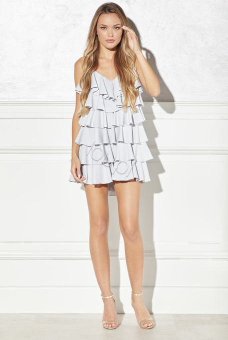 ESCADA - GREY DRESS WITH FRILLS