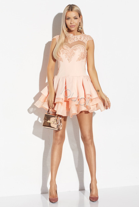 EVELINE - PEACH FLARED DRESS WITH BEADS