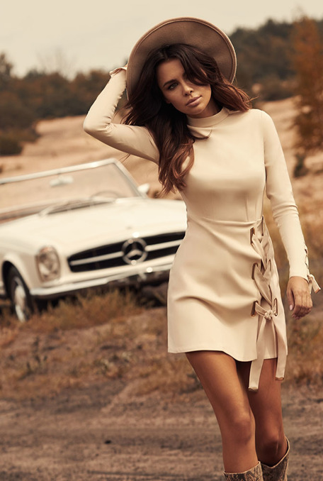 EVERLY - BEIGE DRESS WITH BINDINGS