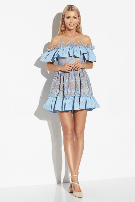 FELICIA - SKY BLUE DRESS WITH GUIPURE