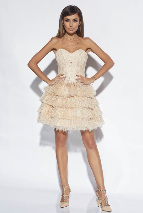 FERGIE - NUDE CORSET DRESS WITH FEATHERS