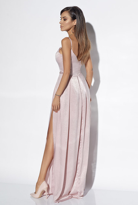 GEMMA - PINK GOWN WITH HAND-SEWN STONES