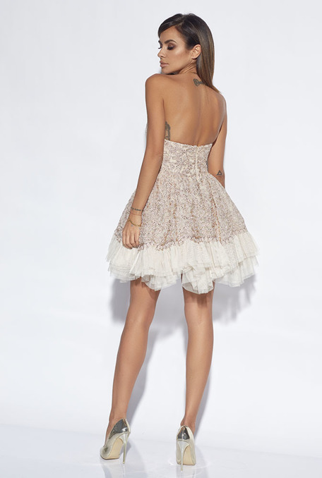 GRACE - BEIGE DRESS WITH LACE AND TULLE