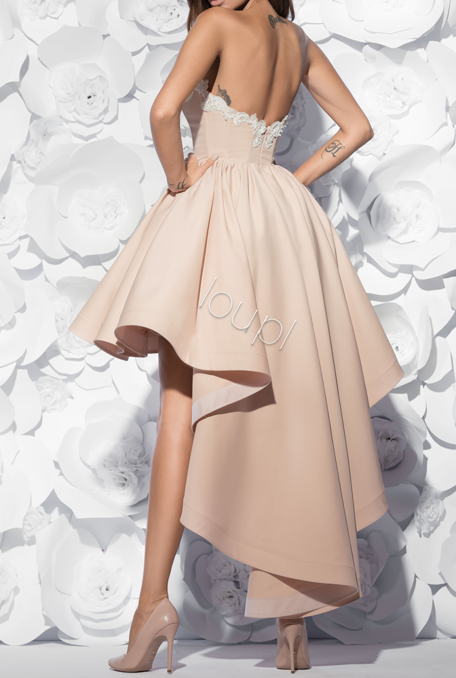 JAYLEA - LONG NUDE GOWN WITH EMBROIDERY