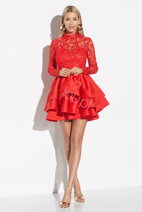 JUANITA - RED DRESS WITH LACE
