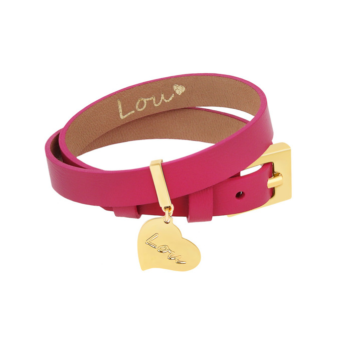 LEATHER FUCHSIA BRACELET WITH A PENDANT
