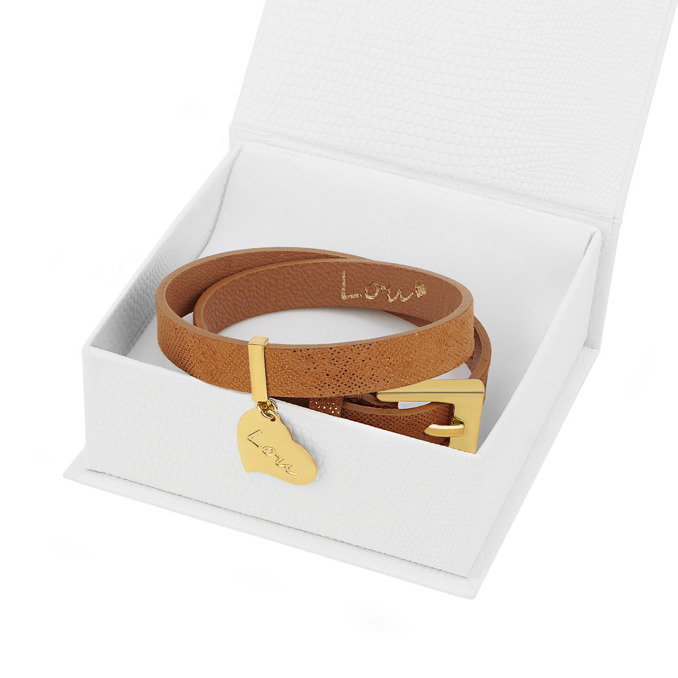 LEATHER HONEY BRACELET WITH A PENDANT
