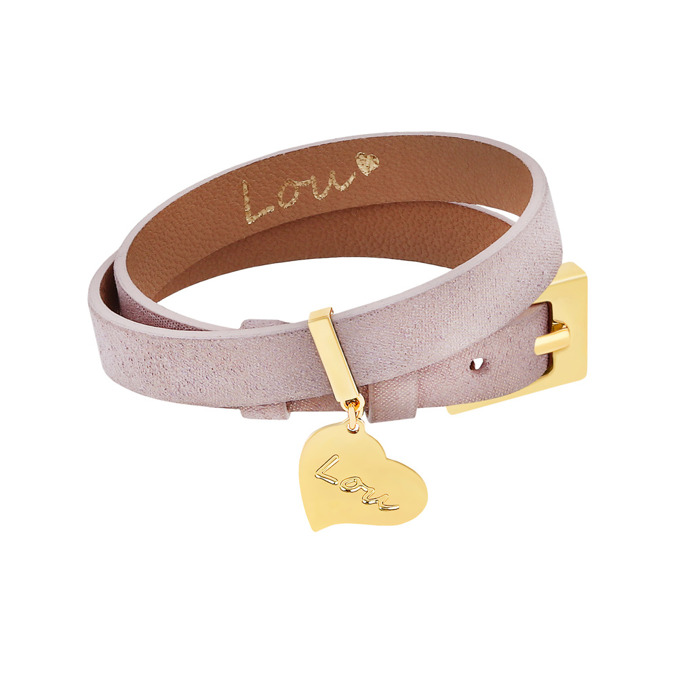 LEATHER LIGHT VIOLET BRACELET WITH A PENDANT