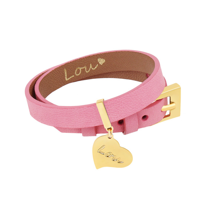 LEATHER PINK BRACELET WITH A PENDANT