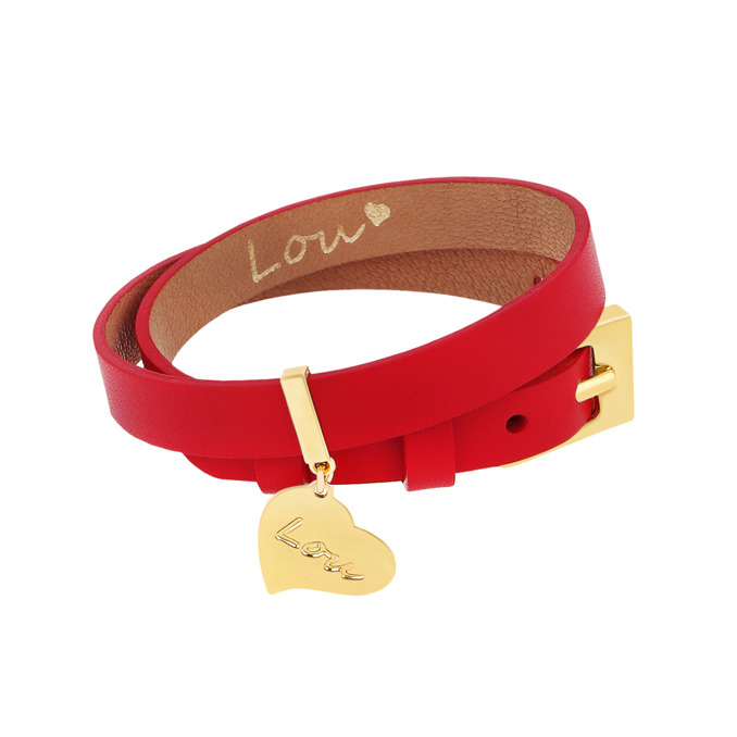 LEATHER RED BRACELET WITH A PENDANT
