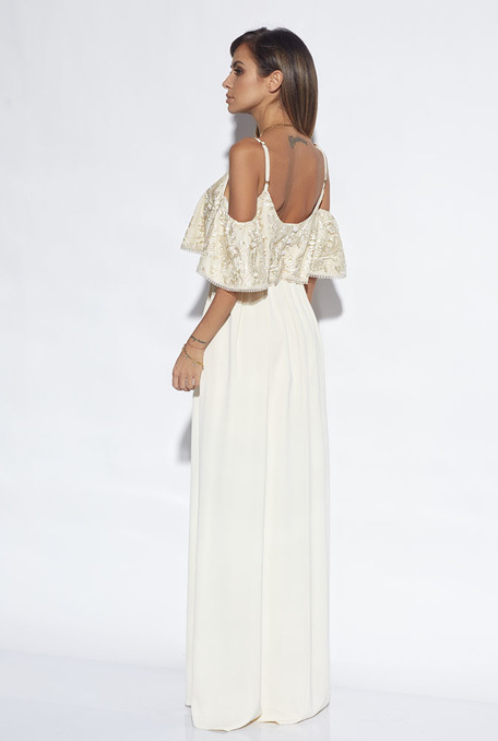 LIBEE - BEIGE GOWN WITH LACE