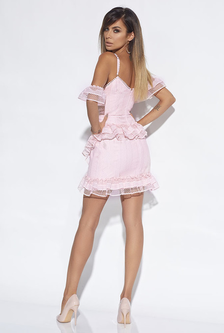 LINDSAY - FITTED DRESS WITH PINK GUIPURE