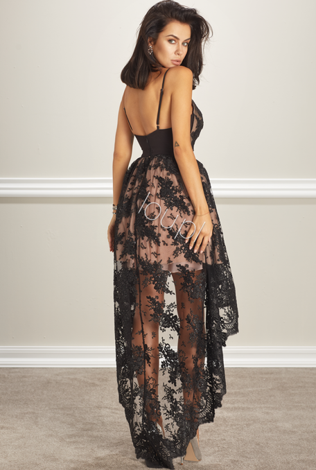 MARSHA - BLACK LACE GOWN