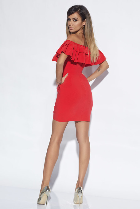 MISCHA - RED DRESS WITH PLEATING