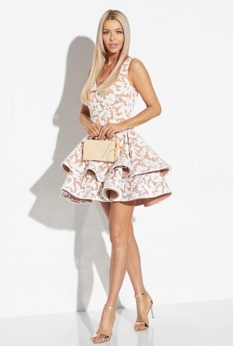 NOUGAT - CARAMEL DRESS WITH CREAM LACE