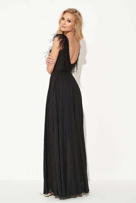 OPHIUM - BLACK DRESS WITH FEATHERS