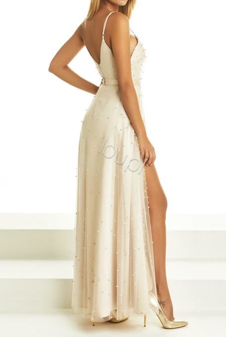 PERLA - BEIGE DRESS WITH PEARLS