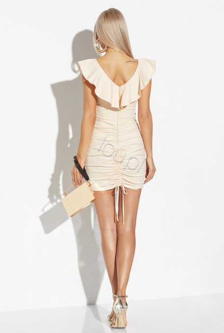 PETRA - BEIGE DRESS WITH CREASES