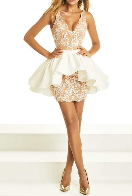 PRISCILLA - LACE DRESS WITH ADDITIONAL SKIRT