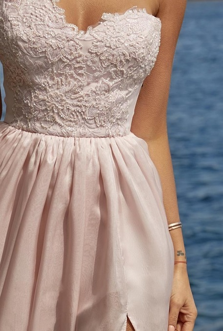 REGGIA - BABY PINK DRESS WITH EMBROIDERY