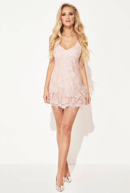 ROSELLA - PINK DRESS WITH SEQUINS