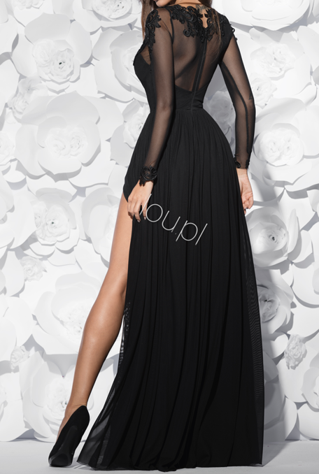 SAILA -  BLACK GOWN WITH EMBROIDERY