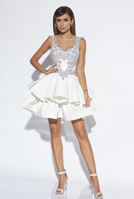 SIA - CREAM FABRIC DRESS WITH LACE