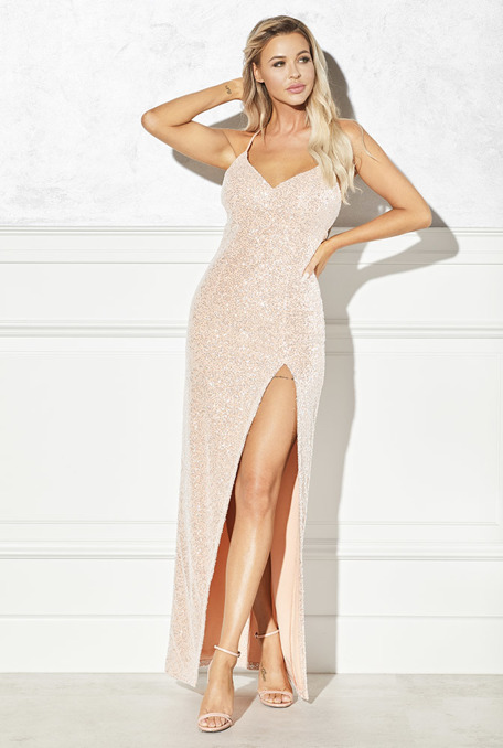 SINSAY - DIRTY PINK DRESS WITH SEQUINS