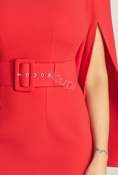 TAMMI - RED DRESS WITH BELT