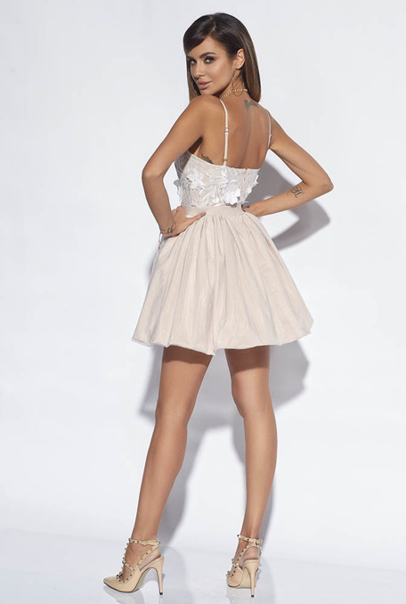 WONDER - NUDE DRESS WITH EMBROIDERY 3D