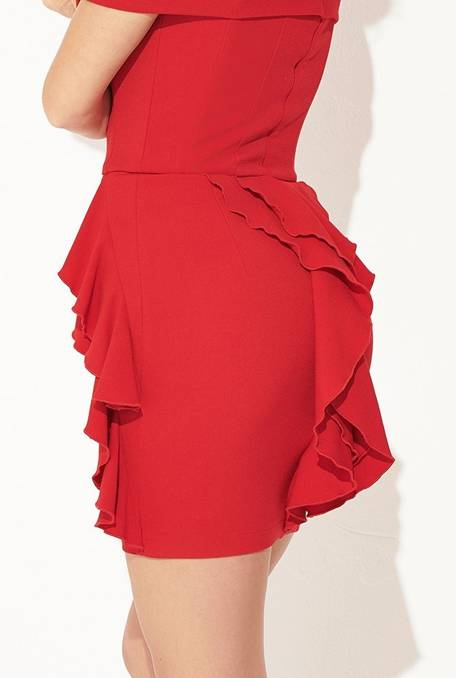 ZIMMI - RED DRESS WITH FRILLS