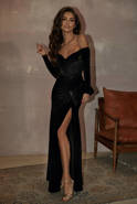 GARLANA - BLACK VELOROUS DRESS