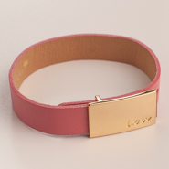 LEATHER PINK BRACELET WITH A BUCKLE