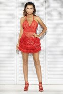 MARINELLA  -  RED DRESS WITH GUIPURE
